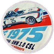 Bmw 3.0 Csl Sebring 1975 Peterson Redman Round Beach Towel