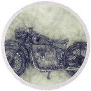 Bmw R32 - 1919 - Motorcycle Poster 1 - Automotive Art Round Beach Towel