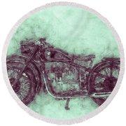 Bmw R32 - 1919 - Motorcycle Poster 3 - Automotive Art Round Beach Towel