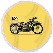 The R32 Motorcycle Round Beach Towel by Mark Rogan