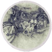 Bmw R60/2 - 1956 - Bmw Motorcycles 1 - Vintage Motorcycle Poster - Automotive Art Round Beach Towel