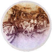 Bmw R60/2 - 1956 - Bmw Motorcycles 2 - Vintage Motorcycle Poster - Automotive Art Round Beach Towel
