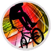 Bmx In Lines And Circles Round Beach Towel