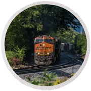 Bnsf Coming Around The Curve Round Beach Towel