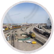 Bnsf Northtown Yard 4 Round Beach Towel