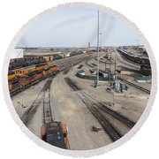 Bnsf Northtown Yard 6 Round Beach Towel
