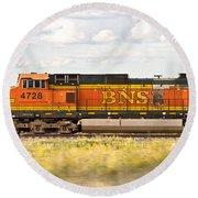 Bnsf Railway Engine Round Beach Towel