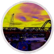 Bnsf Trestle At Salmon Bay Round Beach Towel