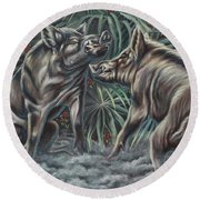 Boar Room Brawl Round Beach Towel