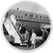 Boarding American Airlines Round Beach Towel