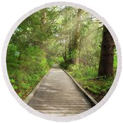 Boardwalk Along Hiking Trail At Fort Clatsop Round Beach Towel