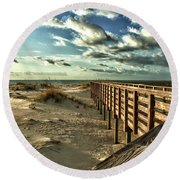 Boardwalk On The Beach Round Beach Towel