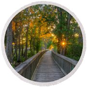 Boardwalk Sunset Round Beach Towel