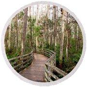 Boardwalk Through Corkscrew Swamp Round Beach Towel