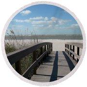 Boardwalk To The Beach Round Beach Towel