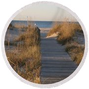 Boardwalk To The Beach Round Beach Towel