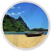 Boat And Bali Hai Round Beach Towel