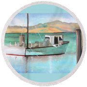 Boat At China Camp State Park Round Beach Towel