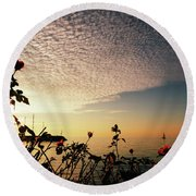 Boat At Sea And Roses Round Beach Towel