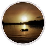 Boat At Sunset Glow - Sepia  Round Beach Towel