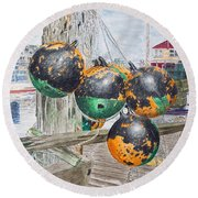 Boat Bumpers Round Beach Towel