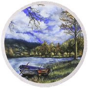 Boat By The Lake Round Beach Towel