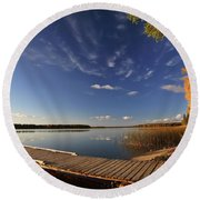 Boat Dock And Autumn Trees Along A Saskatchewan Lake Round Beach Towel