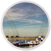 Boat Dock On The Bay Round Beach Towel