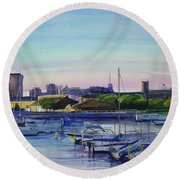Boat Harbor At Dusk Round Beach Towel