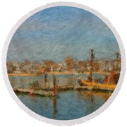 Boat Harbor Province Town Round Beach Towel