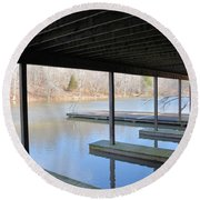 Boat House At Sweet Briar Round Beach Towel