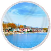 Boat House Row From West River Drive Round Beach Towel
