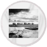 Boat Houses By The Shore In Kallahamn Harbor Round Beach Towel