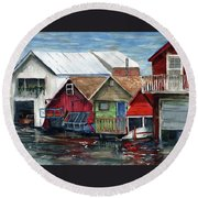 Boat Houses On The Lake Round Beach Towel