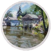 Boat Houses Round Beach Towel