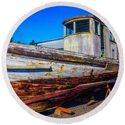 Boat In Dry Dock Round Beach Towel