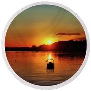 Boat In Sunset Glow Round Beach Towel