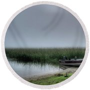 Boat In The Fog Round Beach Towel