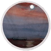 Boat In The Moon Round Beach Towel