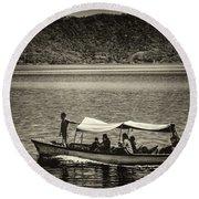 Boat - Lago De Coatepeque, El Salvador Round Beach Towel
