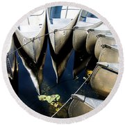 Boat Load Of Reflections Round Beach Towel