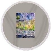 Boat Marina Round Beach Towel