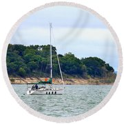 Boat On A Lake Round Beach Towel