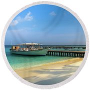 Boat On A Tropical Island Round Beach Towel
