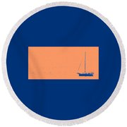 Boat On An Orange Sea Round Beach Towel