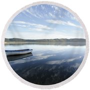 Boat On Knysna Lagoon Round Beach Towel