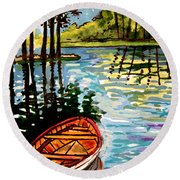 Boat On The Bayou Round Beach Towel