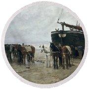 Boat On The Beach At Scheveningen Round Beach Towel by Anton Mauve