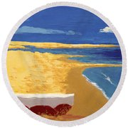 Boat On The Sand Beach Round Beach Towel