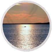 Boat Passing By Round Beach Towel